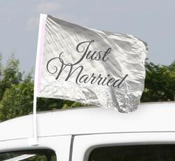 Autofahne Hochzeit - Just Married